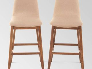 Galloway Contemporary Upholstered Bar Stool  Set of 2  by Christopher Knight Home  Retail 219 99