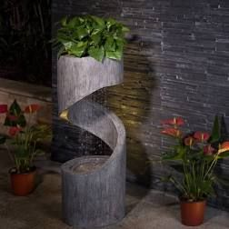 Glitzhome 31 H Polyresin Curving Shaped Outdoor Fountain With lED light  Retail 217 99