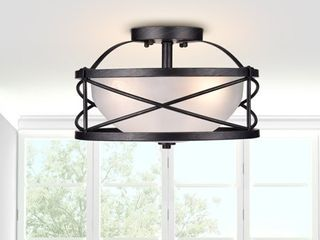 3 light  Antique Black Finish  Opal Glass Shade Retail 129 49