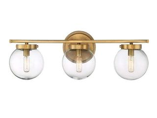 Carbon loft Brenner Warm Brass Metal Glass 3 light Bath Bar Retail 115 19