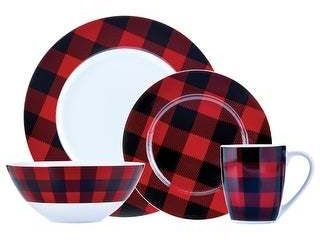 Dinner set 16 PC Buffalo Plaid Red Black