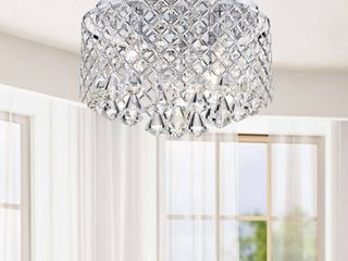 Nerisa Chrome Crystal Flush Mount Chandelier Retail 101 49