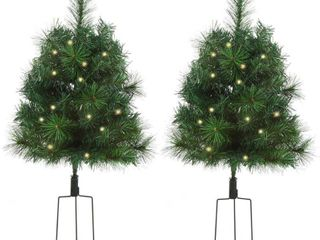 HOMCOM 2 Piece Artificial Pine Tree Warm White light Pre lit Holiday Home Christmas Cordless Decoration with Stakes