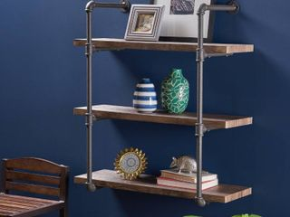 Staci Industrial 3 Shelf Faux Wood Float