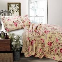 Porch   Den Gladiola Pink Rose Cottage Queen 3 Piece Comforter Set