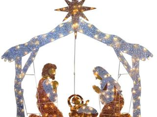 55a Nativity Scene with Clear lights