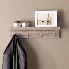 The Gray Barn Cordelia Wood Floating Wall Shelf with Hooks