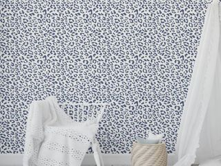 leopard Navy Peel and Stick Wallpaper