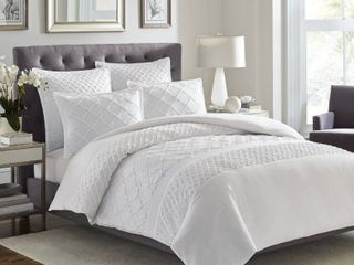 Stone Cottage Mosaic 3 piece White Textured Cotton Comforter Set Retail 123 99