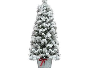 4FT Flocked Pot Christmas Tree Green