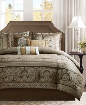 California King  Madison Park Venetian Brown  Gold 7 Piece Jacquard Comforter Set Retail 135 97