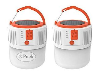 Camping lantern Solar Rechargeable  lED Tent light Ultra Bright for Camping 2 Pack