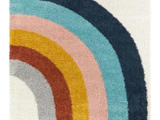 Amelia Rainbow Print Shag 5  Round Area Rug