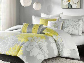 California King Madison Park Brianna Grey and Yellow Flower Printed Cotton Comforter Set  Retail 122 98