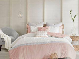 7pc Full Queen Kira Cotton Jacquard Comforter Set Blush