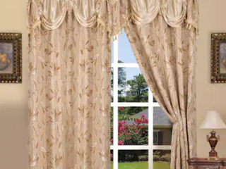 54 x 84   Beige Elegant Comfort luxury Penelopie Jacquard 84 inch length Window Curtain Panel Pair