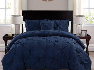 King Navy VCNY Carmen Pintuck 4 piece Comforter Set