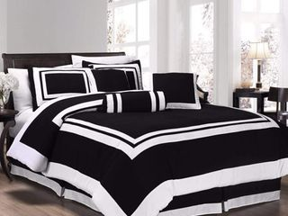 Chezmoi Collection Caprice 7 Piece Square Pattern Hotel Style Bedding Comforter Set