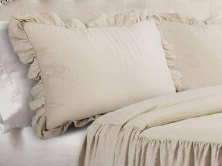 King 3pc Ruffle Skirt Bedspread Set Neutral   lush Decor