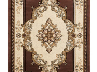 Porch and Den   Curry Hand Carved 7 10  x 10 10  Area Rug   Green leaves