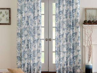 Corona Curtain Eastman Printed Back Tab Window Curtain Pair  Blue  50X108