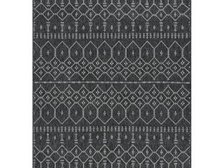 Tayse Rugs Serenity Black 7 ft  8 in  x 10 ft  Outdoor Area Rug  Black Gray