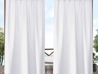 Exclusive Home Curtains Biscayne Indoor Outdoor Two Tone Textured Tab Top Curtain Panels  54 x84  White  Set of 2