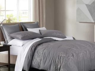 Grey   King Wonderful Embroidery Cotton Slub Duvet Cover Set Retail 97 99