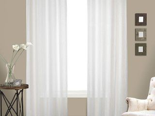 United Curtain Venetian Crushed Voile Window Curtain Panel  100 by 63 Inch  White  Set of 2