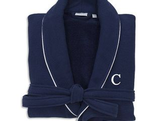S M   C Authentic Hotel and Spa Navy Blue Unisex Turkish Cotton Waffle Weave Terry Bath Robe with White Block Monogram   Retail 93 31