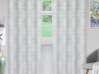 52  x 108    light Grey  Miranda Haus Hinia Jacquard Grommet Curtain Panel  Set of 2