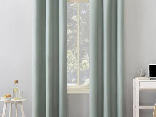 Mineral   40  x 84  Sun Zero Cyrus Thermal Total Blackout Grommet Curtain Panel 2 Panels