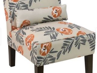 Skyline Furniture   Cream Fabric with Orange Grey Floral Pattern Accent Chair