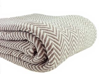 Taupe   Twin   Twin Xl  Everyday Blanket Collect Yarn Dyed Herringbone Cotton Blanket