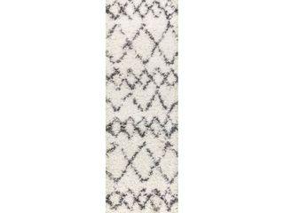Cream Grey 2  X 8    Mercer Shag Plush Tassel Moroccan Tribal Geometric Trellis Area Rug