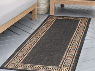 2 7  x 9 10    Black Gold   Alise Rugs Exo Transitional Greek Key Indoor Outdoor Area Rug