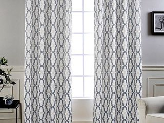 DriftAway Mason Thermal Blackout Grommet Window Curtains  Geometric Trellis  2 of 52 x84  Gray