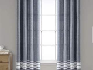 40 w x 95 l   Gray  Porch   Den Masters Yarn Dyed Cotton Fringe Window Curtain Panel Pair
