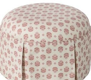 Small Dusty Floral Round Ottoman