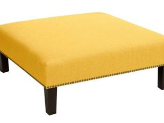 Skyline Furniture  linen Yellow French Tufted Ottoman