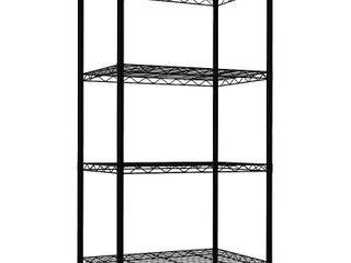 Home Basics 4 Tier Steel Wire Shelf  Black