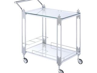 Metal and Mirror Rectangular Serving Cart with Open Shelf  Silver