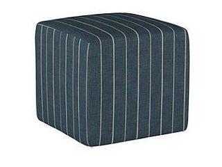 Skyline Furniture   Denim Blue Striped Square Ottoman