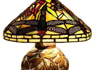 River of Goods 9578 Stained Glass Tiffany Style Yellow Mini Dragonfly Table lamp with Mosaic Base  10 Inch  Yellow Green