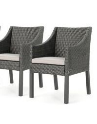 Antibes Outdoor Wicker Dining Chair with Cushions  Set of 2  by Christopher Knight Home