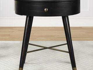 Velsen Mid century Modern Wood and Metal End Table with Drawer  Antique Black