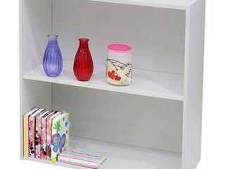 K B Furniture White Wood 2 Tier Bookcase