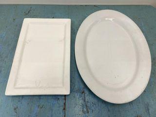 lot Of 2   large Platters  18  Rectangular   22  O