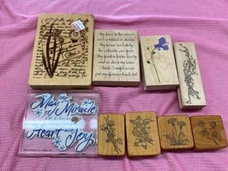 RUBBER STAMPS OF MESSAGES AND FlOWERS