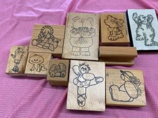 RUBBER STAMPS BEARS  RABBIT AND CHIlDREN AND A
